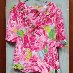 Lilly Pulitzer hotty pink rose silk blouse